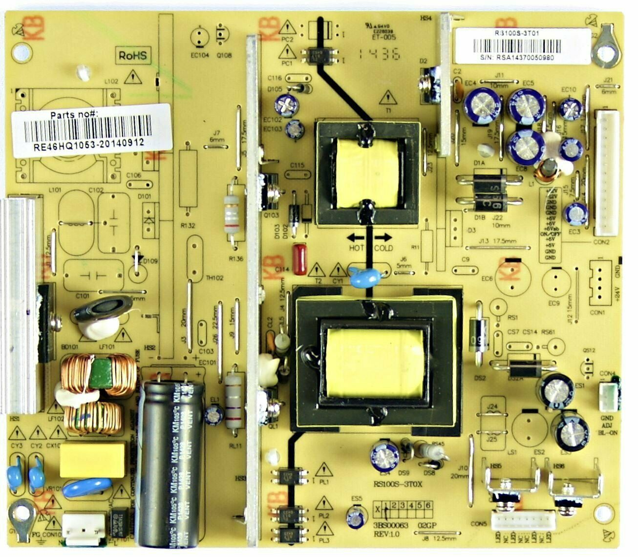 Primary image for Rca RE46HQ1053 Power Supply Board RS110S-3T01