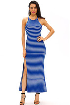 Blue White Stripes Maxi Dress with Side Slit  - $21.71