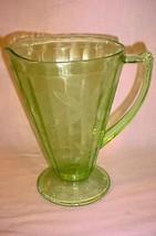 VINTAGE VASELINE URANIUM DEPRESSION GLASS PITCHER WITH LEAF & VINE PATTERN - $46.74