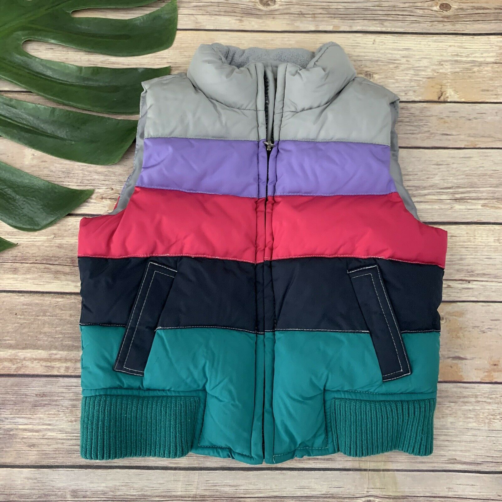 Primary image for Gap Kids Girls Puffer Vest Size XS 4-5 Pink Gray Stripes Zip Up Colorful