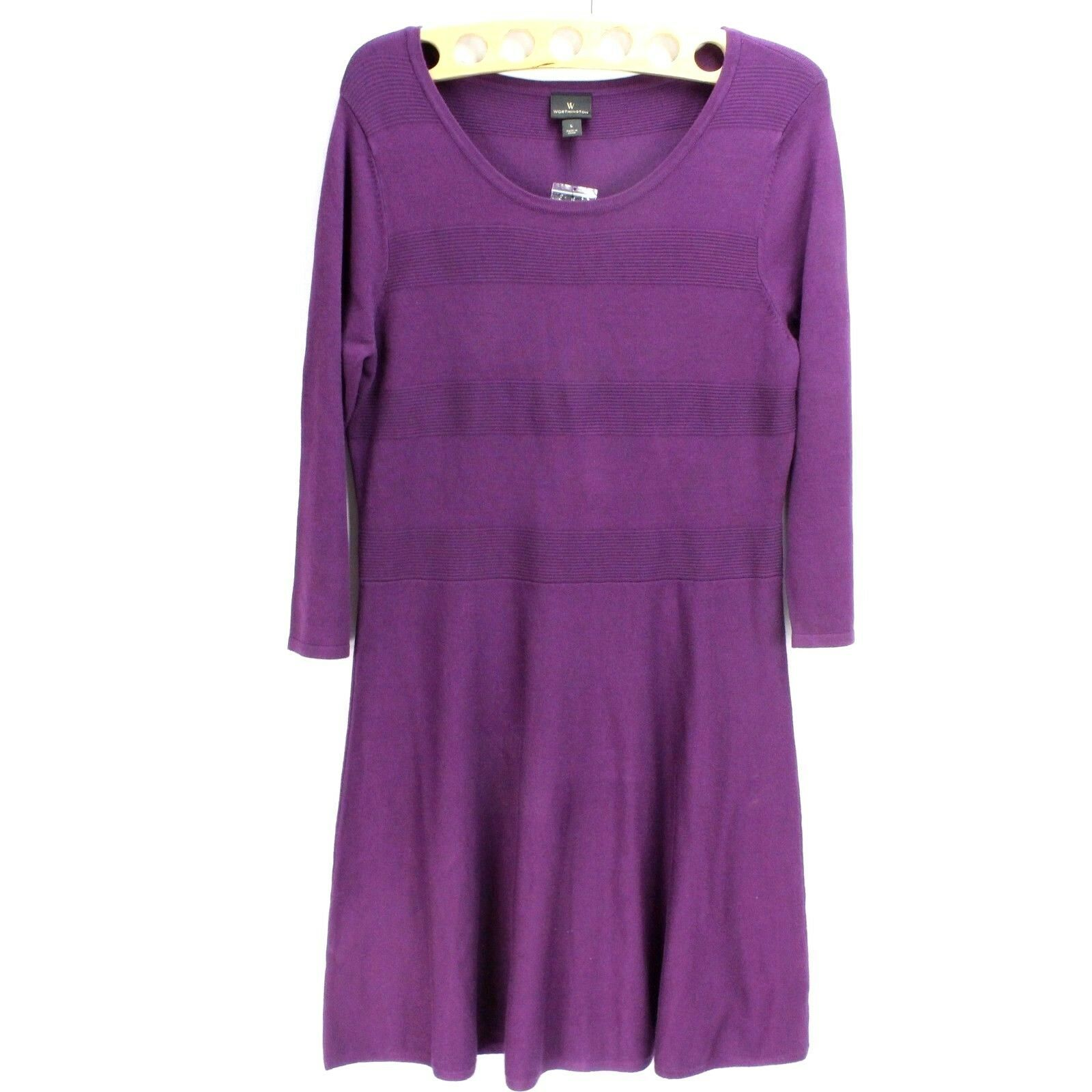 Primary image for NEW Worthington Shift Dress 3/4 sleeve Midi Women's Size Large Loose Fit $60.00