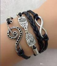 DIY Infinity Charm Antique Cross fashion Leather Bracelets Multilayer Heart Tree image 5