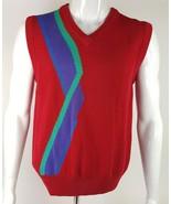 IZOD Club Mens V Neck Sweater Vest Sz Medium Red Blue Purple Green 100% ... - $14.01