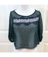 Lush Nordstrom Women's Navy Blue Lace and Green Sheer Floral Crop Top Si... - $19.79