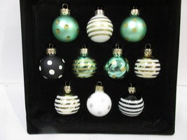 Christmas Coastal Nautical MINI Glass Aqua Gold Polka Dot Ornaments 1.5 ... - $19.99