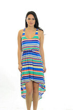 S LUSH Bright Multi Colored Striped Halter Top Asymmetrical Hem Hi-Low D... - $34.65