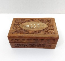 Hand Carved Wooden Jewelry Trinket Box Keepsake Storage Organizer Inlaid... - $9.99