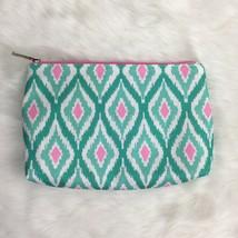Clinique Boho Tribal Aztec Aqua Sea Mint Green Pink Make Up Travel Case Bag - $14.24