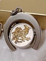 North Carolina State Bird Cardinal Silver & Gold Horseshoe Key Chain - $9.89