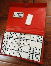 Vintage Domino Set - Cardinal Vinyl red case 28 Dominoes - $18.76