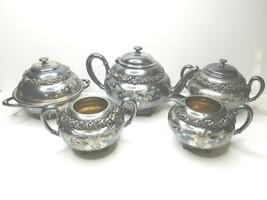 VTG 5 Homan Quadruple Silver Plate 2034 Floral Engraved Teapot Sugar Cre... - $197.87
