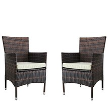 Kosycosy 2 Pieces Patio Porch Furniture Set PE Rattan Wicker Chairs with... - €186,88 EUR