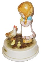 1970s Otagiri Japan Girl with Chickens Music Box TRUE LOVE - $10.39