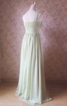 Sage Green One Shoulder Maxi Formal Dress A-line Chiffon Sage Green Prom Dress image 3