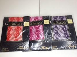 VTG Stilnovo Fishnet Red Pink Purple Pantyhose Hosiery LOT For Flash leg... - $29.29