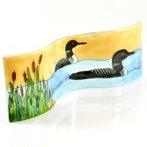 Fused Art Glass Sunset Black & White Loon Duck Wavy Decor Piece Handmade Ecuador image 5