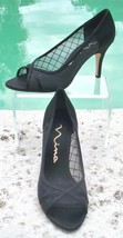 Nina Couture Black Diamond Shoe Peep Toe Pump EUC 7.5 Satin Event Wedding Work - $24.95