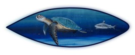 Sea turtle Shark underwater sea life handcrafted wooden surfboard hand p... - £130.42 GBP