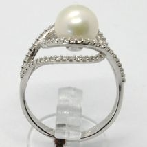 18K WHITE GOLD BAND PEARL ZIRCONIA RING ONDULATE, WAVE, DOUBLE, MADE IN ITALY image 3