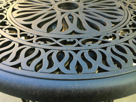 Santa Anita outdoor patio 3-piece cast aluminum bistro set table chairs swivels image 7
