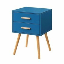 Modern Classic Mid-Century Style End Table Nightstand in Blue Finish - £141.61 GBP