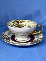 Decorated By Hand Painted Tea Cup and Saucer Made in Japan Floral Brown white - $15.99