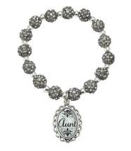 Aunt Black Diamond Gray Jeweled Beads Crystal Stretch Bracelet Jewelry Gift - $14.72