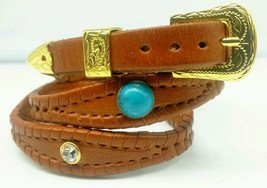 NEW Brown HATBAND Scalloped Braided Leather w TURQUOISE + CLEAR Conchos & Buckle - $21.71