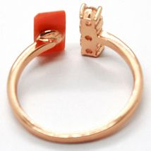 925 SILVER RING, PINK, TRILOGY, RED CORAL RECTANGULAR, MADE IN ITALY image 3