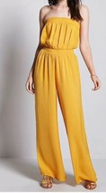 Forever 21 Satin Strapless Tube Top Wide Leg Jumpsuit One Piece Mustard ... - $9.89
