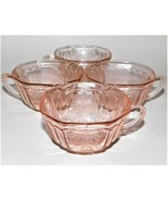 4 Anchor Hocking Depression Glass Pink Mayfair Open Rose Square Tea Cups... - $49.50