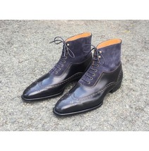 Handmade Men's Black & Blue Wing Tip High Ankle Lace Up Heart Medallion Boots image 3