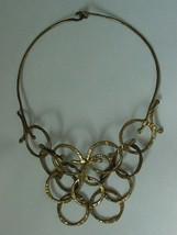Vintage Abstract Modernist Brass Multi Circle Choker Necklace - $35.00