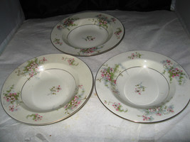 "(3) Theodore Haviland New York ""Apple Blossom""  Rimmed Soup Bowl - $9.99"