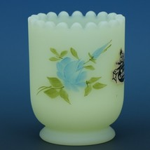 Fenton Art Glass Blue Roses Custard Satin c.1981 Toothpick Holder