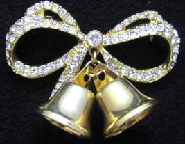 Vintage Monet Signed Clear Rhinestone Gold Plated Bow & Bells Brooch Pin... - $14.85