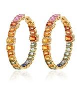CLEARANCE! NWT $20,000 18KT GOLD MULTI RAINBOW SAPPHIRE HOOP DIAMOND EAR... - $8,910.00