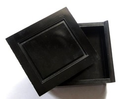 Old Vintage Art Deco Square Black Bakelite Plastic Jewelry Trinket Box*Y367 - $122.75