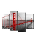 Golden Gate Bridge Wall Art - Black White and Red Photograph with Pop of... - $55.45