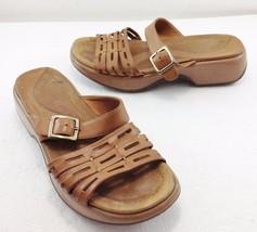"Dansko Womens 9.5 - 10 US 40EU Beige Leather 1 1/2"" Heels Slides Sandals - $43.95"