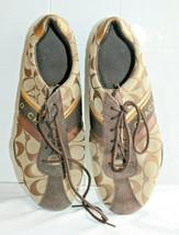 Coach Women's Jayme Khaki Gold Signature Canvas Suede Brown Monogram Shoes SZ 8M - $18.81