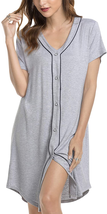 Af Nightgowns For Women Button Down Long  Short Sleeve Boyfriend Style N... - $27.71