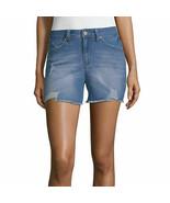 Ymi Women's Juniors Mid Rise Denim Shortie Shorts Size 13 Medium Wash Cu... - $26.72