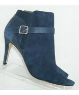 Marc Fisher 'Shimmee' blue suede peep toe side zip elastic bootie heels 11M - $41.71