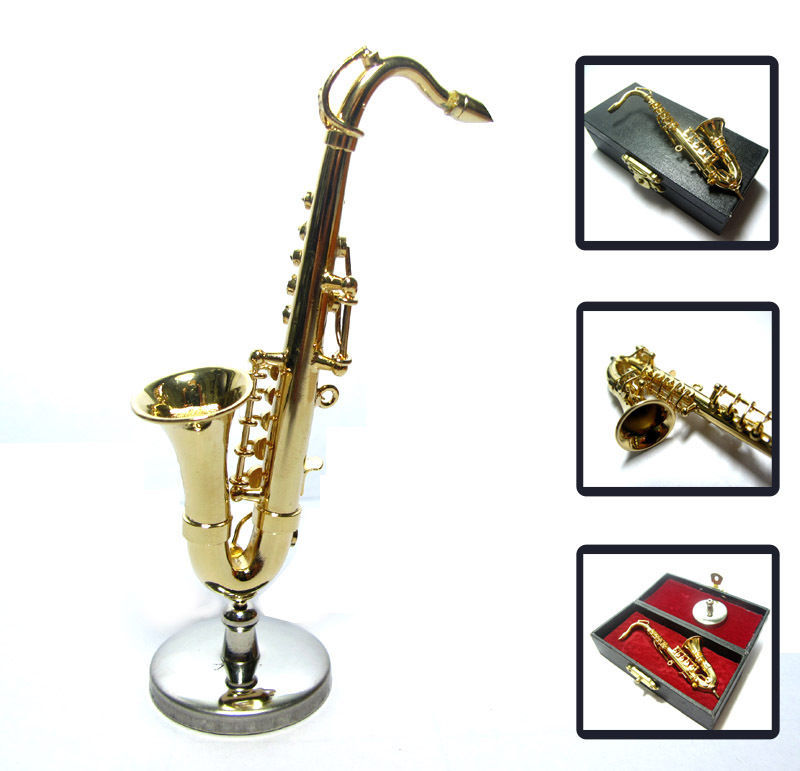 1/12 Dollhouse Miniature Alto Saxophone Sax Musical Instrument Music Figure box for sale  USA