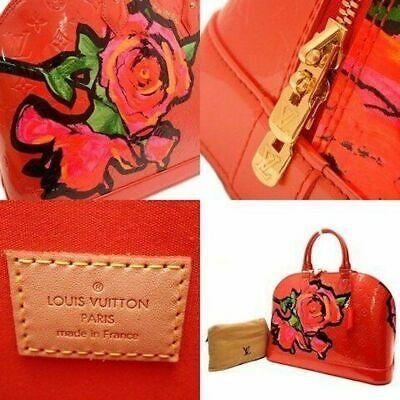 LOUIS VUITTON Hand Bag Rose Vernis Alma MM Red M93687 MI0069 Enamel Auth Rare