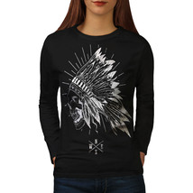 Apache Skull Head Fantasy Tee USA Native Women Long Sleeve T-shirt - $14.99