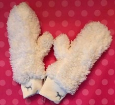 Victoria's Secret VS PINK Lined Sherpa Mittens Ivory Silver Embroidered ... - $12.77