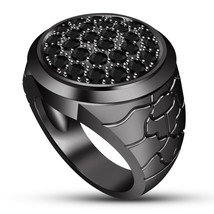 Bikers Black Diamond Antique Ring 14k Rhodium Finish 925 Pure Sterling S... - $123.99