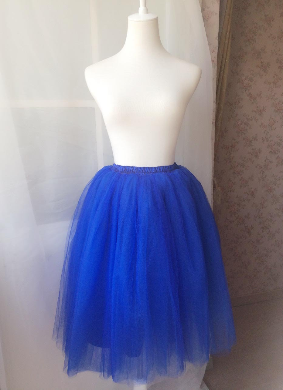 Midi Tulle Tutu Skirt 4 Layered Midi Tulle  Skirt Royal Blue Plus Size